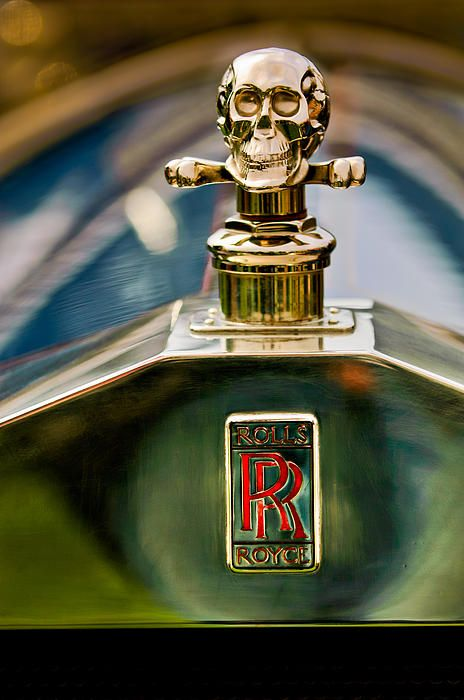 1912 Rolls-Royce Silver Ghost Cann Roadster Skull Hood Ornament - Jill Reger - Photographic prints for sale
