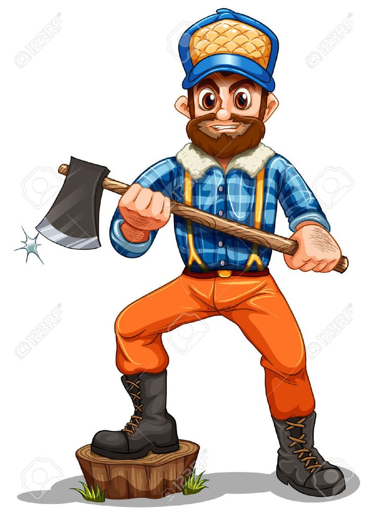Illustration Of A Lumberjack Stepping On A Stump On A White Background Royalty Free Cliparts, Vectors, And Stock Illustration. Image 22210969.