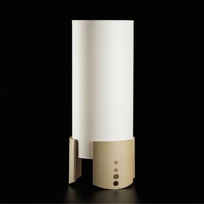Kele    Luminaria fluorescente de mesa (36W) 2G 11   Difusor de tela blanca cruda y base de madera de haya curvada   H 600mm, diámetro 220mm  www.teknilight.com