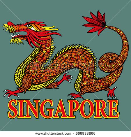 Tradition Asian Dragon Illustration. Asia's Four Little Dragons. Singapore