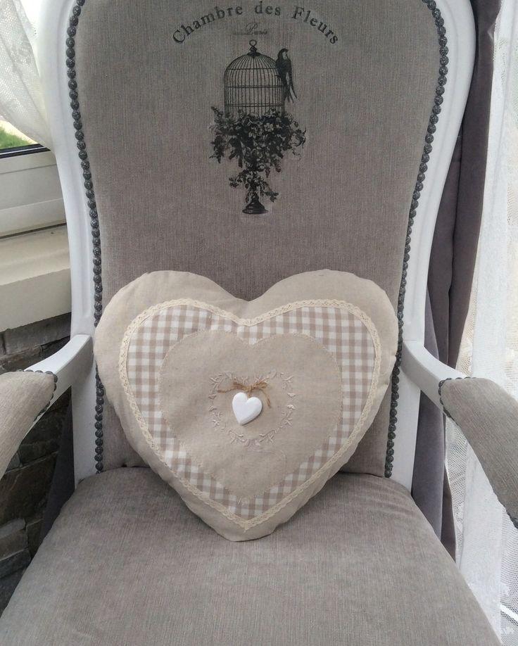 Coussin forme cœur 35x37cm lin beige Vichy Shabby Chic : Textiles et tapis par monautrefois