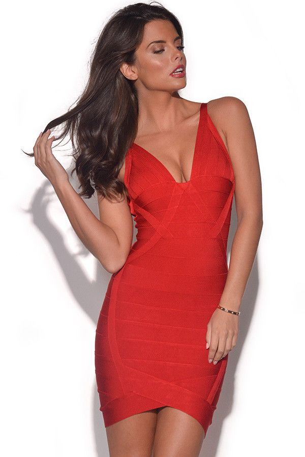 Aubrey Red Bandage Dress