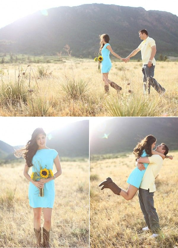 Perfect engagement photos! Especially because that's my color and flower