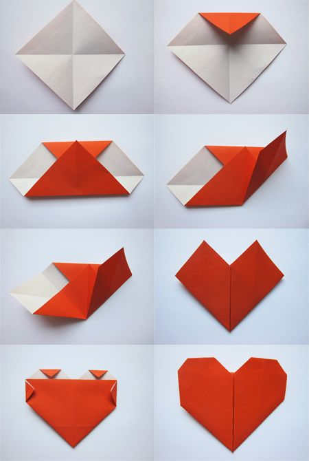 Simple heart origami kid 39 s crafts pinterest heart - How to make paper love hearts ...