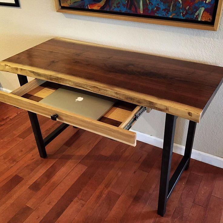Custom Made Walnut Live-Edge Desk With Hand-Forged Metal