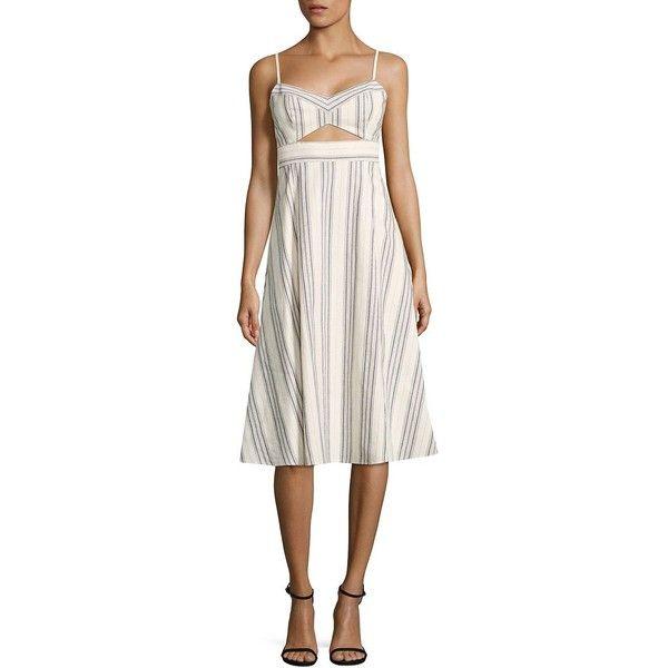 BCBGMAXAZRIA Peek-A-Boo Striped Cutout Midi Dress ($115) ❤ liked on Polyvore featuring dresses, cotton midi dress, white cut out dress, white dress, striped midi dress and sleeveless dress