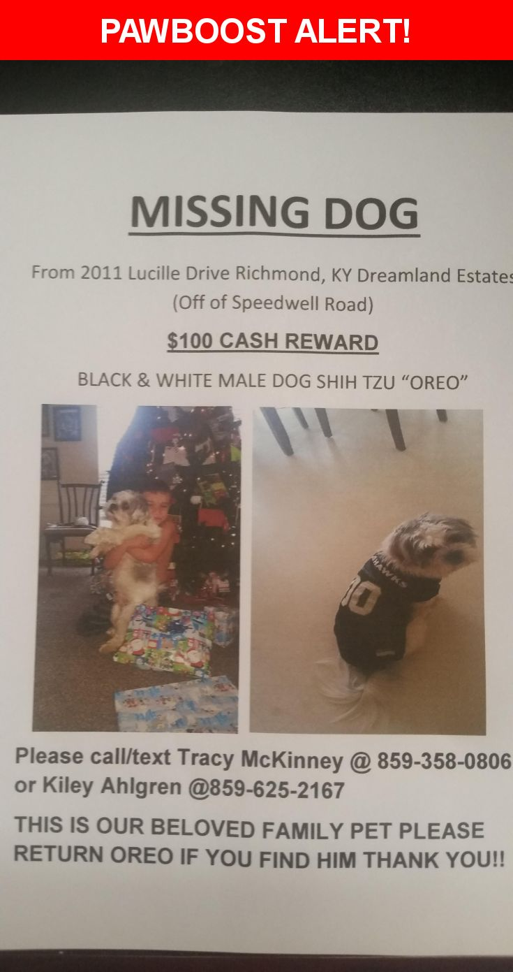 Please spread the word! Oreo was last seen in Richmond, KY 40475.  Description: Oreo is a kid friendly dog and if you try to catch him he will run away but he is a black and white shih tzu and  2 years old he is not neutered and will come if you call his name! Please contact us if you find him at 8596252167 or 8593580806