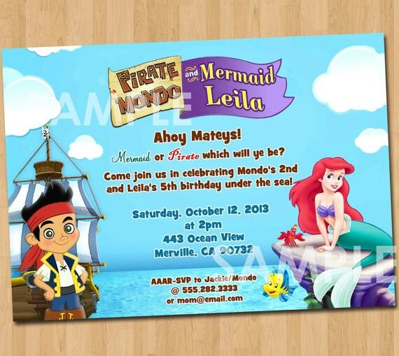 15 best Little mermaid and jake party images on Pinterest - fresh invitation for birthday party by email