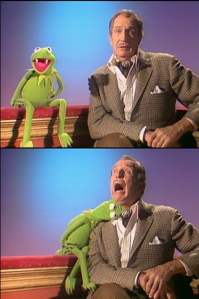 Kermie and Vincent Price I had this on a shirt when I was little :)