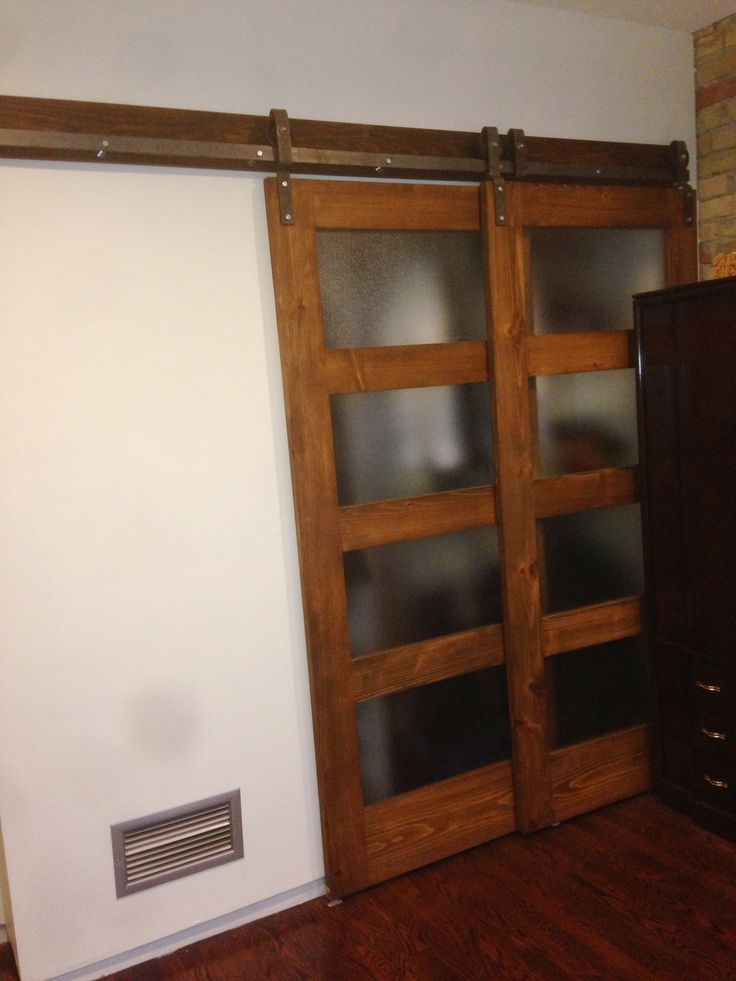 two panel glass doors custom made to slide on this bypass barn door hardware for a closet - Bypass Barn Door Hardware