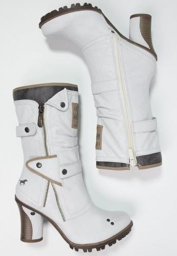 #Mustang stivali texani / biker offwhite Bianco  ad Euro 80.00 in #Mustang #Donna scarpe stivali da neve
