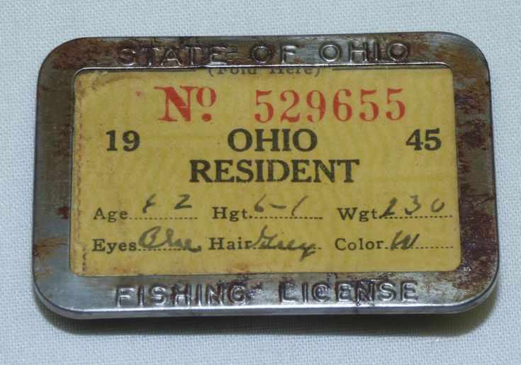 Old Antique 1945 State of Ohio Resident Fishing License w/ Pin Badge