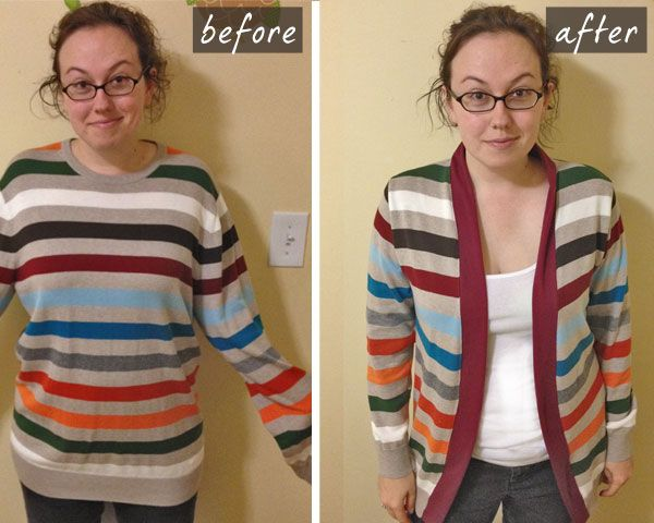 Sweater to cardigan. There are a bunch of tutorials out there for this.