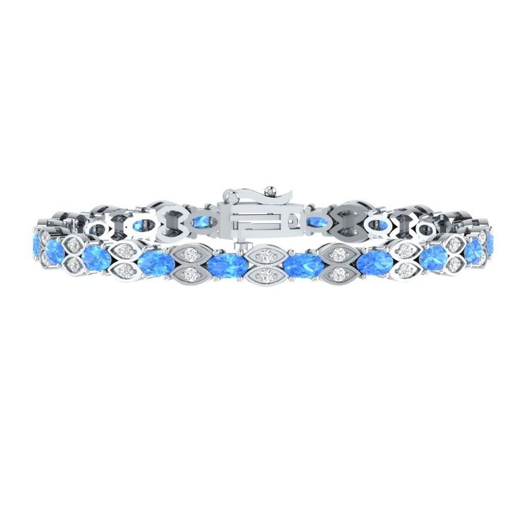"4.60 Ct Blue Topaz W/ Sapphire Sterling Silver 7"" Tennis Bracelet For Womens #braceletrealgold #Tennis"