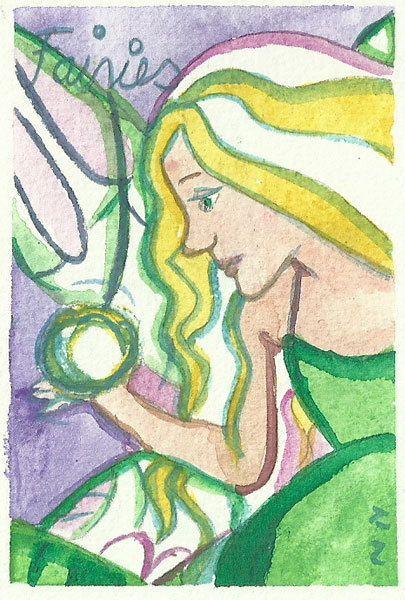 Fairy Painting Original ACEO Painting 2,5 x 3,5 Fairy Painting Fairy Illustration Watercolor Fairy Art Fantasy Fairy tale Magic