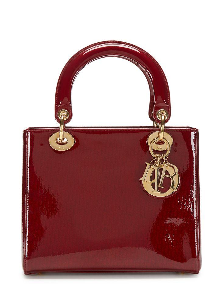 Christian Dior Burgundy Patent Leather Medium Lady Dior Bag by Dior at Gilt