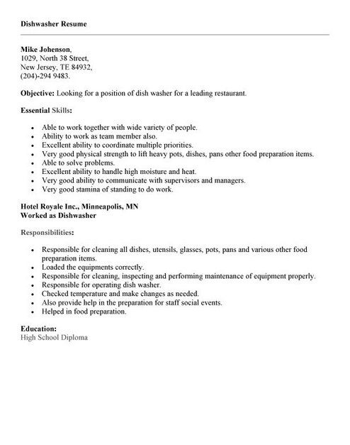 Resume Example For Job – Dishwasher Job Description