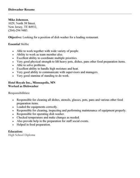 Dishwasher Job Resume Example - http://topresume.info/dishwasher-job-resume-example/