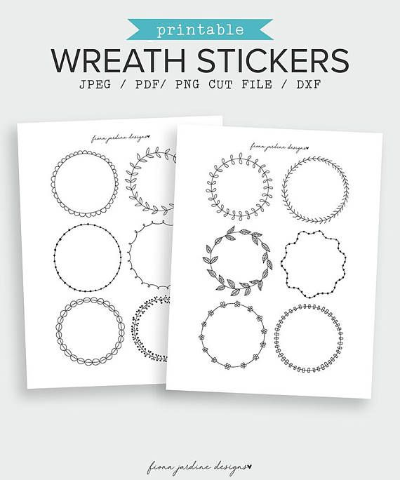 This pack of black and white doodled decorative journal stickers includes 12 wreath designs. Each wreath sticker measures approximately 75mm in diameter (3 inches) and will fit most common Bullet Journal or notebook sizes. The printable stickers are on two US Letter sized pages but suit A4 printing. Black and White Decorative Journal Sticker | Printable Bullet Journal Sticker | Wreath Sticker | Planner Sticker | Printable Sticker | Bujo