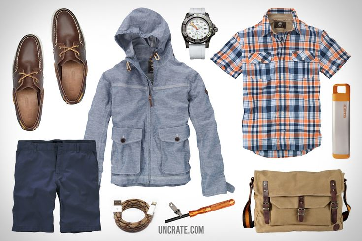 Timberland Earthkeepers Heritage 2-Eye Boat Shoe ($100). Timberland Waterproof Technical Wharf Jacket ($168). Timberland Earthkeepers Seacrest Canvas Messenger Bag ($175). Paracable iPhone/iPad Lightning Cable ($28). Victorinox Swiss Army Dive Maser Watch ($795). NanoStriker Fire Starter ($28). Clean Bottle Square Water Bottle ($45). Timberland Harmon Plaid Shirt w/CoolMax Fabric ($68). Timberland Earthkeepers Oakham Chino Short ($68).