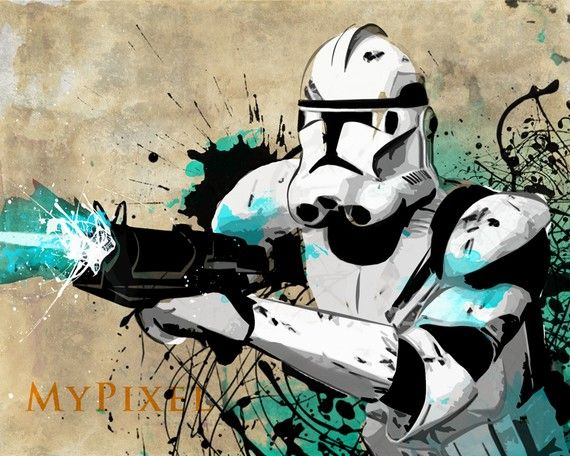 Clone trooper star wars pop art illustration style fan art metallic print 8x10
