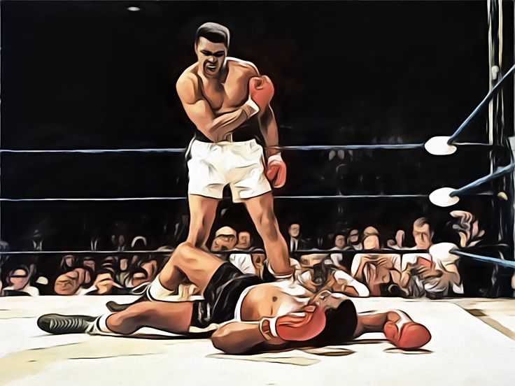 Knockout Muhammad Ali  A digital art work by Dan Newburn from a photo found on the Internet.
