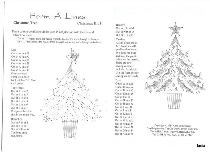 Christmas-tree-instructions for embroidery card