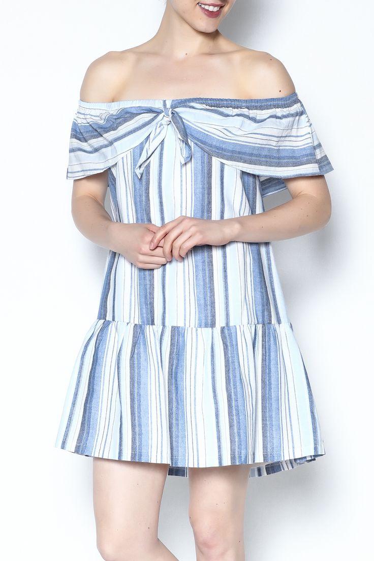 Lush Off Shoulder Stripe Dress - Main Image