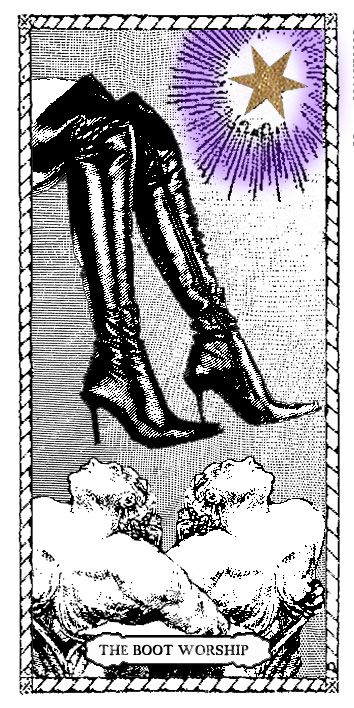 Boot Worship Tarot Card by Passiones Martyrum (print on special paper, watercolor, golden leaf - 9 x 18 cm/3,5 x 7 inches)