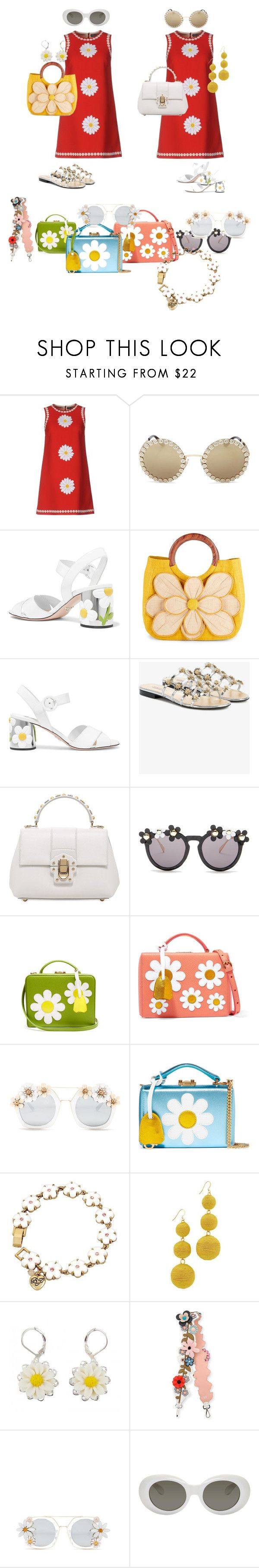 """""""Everything's coming up Daisies"""" by shellygregory ❤ liked on Polyvore featuring Dolce&Gabbana, Prada, Mar y Sol, Fabrizio Viti, Cara Accessories, Mark Cross, Betsey Johnson, Kenneth Jay Lane, Fendi and Acne Studios"""