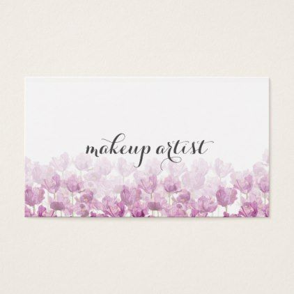 chic modern makeup artist watercolor purple floral business card - professional gifts custom personal diy