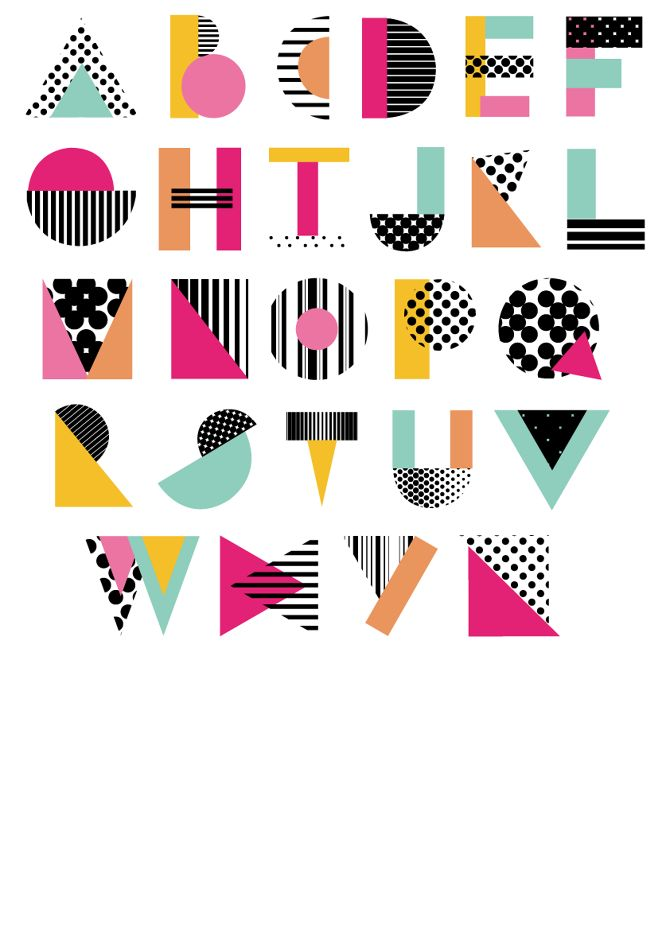 Shape Face - Geometric Typeface - Veronica Smith Graphic Designer, lettering, colour, design, type, font, texture, pattern, typography