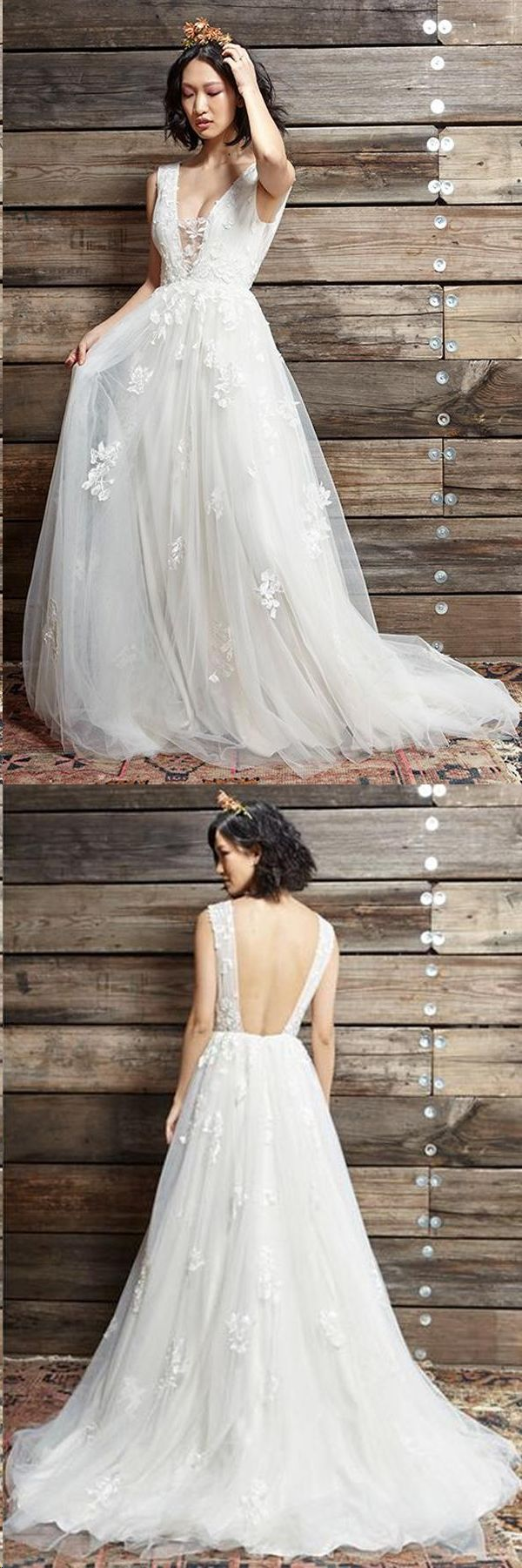 Open Back Wedding Dresses Straps A Line Chic Cheap Appliques Backless Bridal Gown JKW309 – Prom Dresses