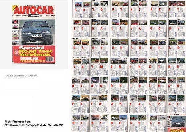 В 1992 году британский журналист Джеймс Мэй был нанят для работы над ежегодником журнала «Autocar». Работа была очень скучной и журналист решил разнообразить ее. Он решил составить из заглавных букв акростих: