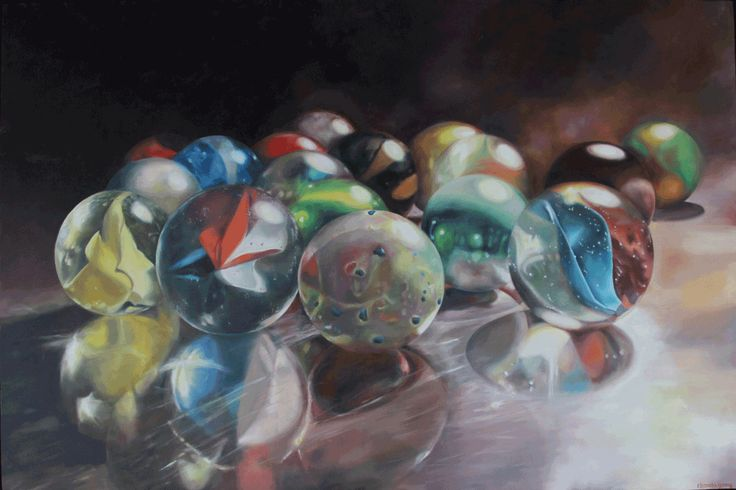 marbles on metal