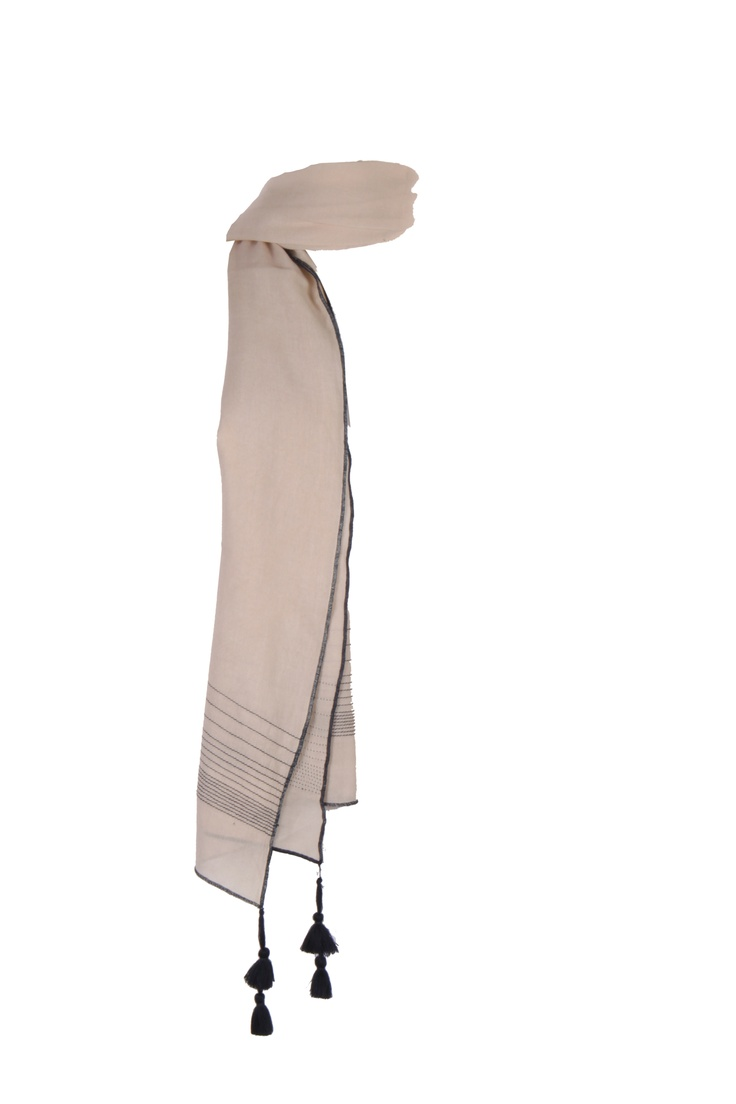 Beige Solid Dupatta With Uneven Rows Of Contrast Colour Stitching With Tassels At Corners And Contrast Colour Babylock On All Four Sides; 2.25 M In Length In 100% Viscose #Fashion #Style #Colors #Drapes #W for #Woman