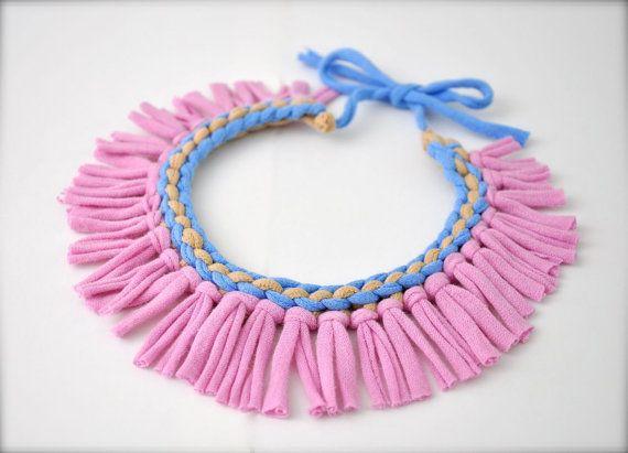 Collar tribal declaración joyería de tela fringe por Pamplepluie