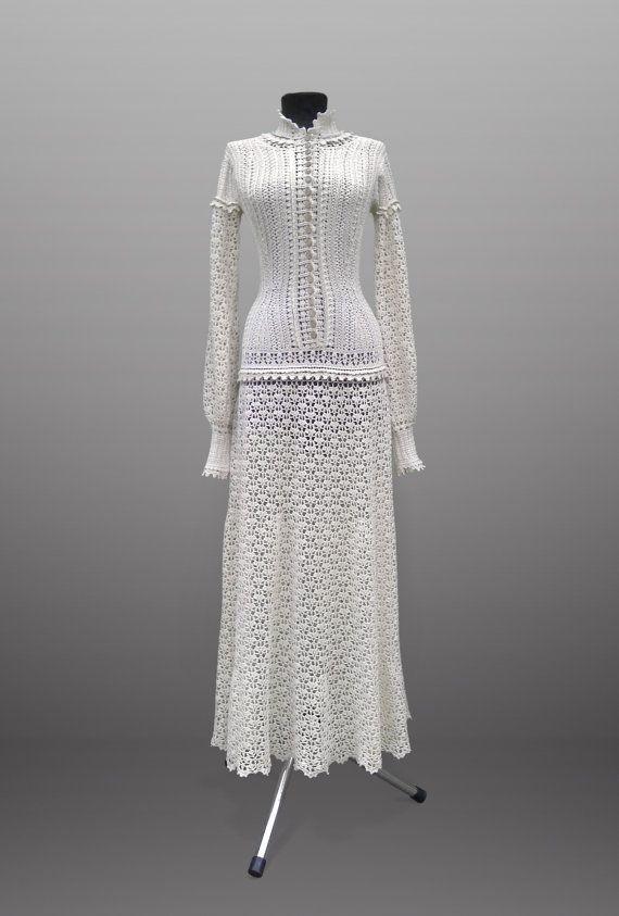 Crochet dress Emma. Ivory cotton special by TsarevaCrochet on Etsy