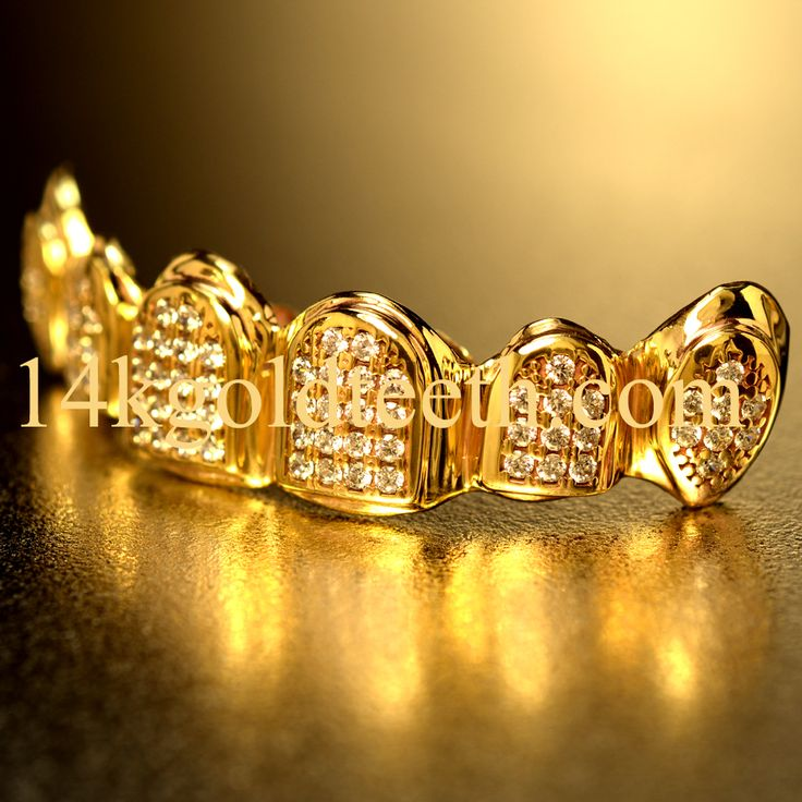 ICED Out Grillz!! Top CZ, Yellow Gold, 10k,14k,18k, 14kgoldteeth.com
