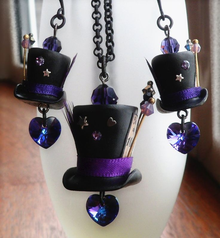 Mad Hatter Hat and Earrings Set.  These are made to order - you can choose black or dark brown polymer clay hats, and any of a large number of crystal-and-ribbon color schemes.