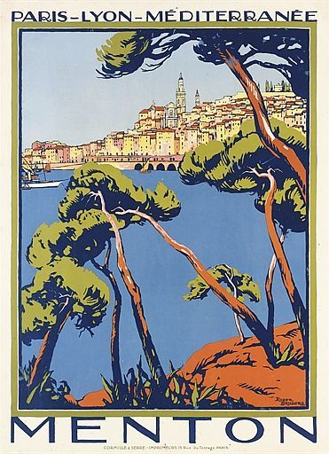 BRODERS, ROGER (1883-1953)  - MENTON lithograph in colours, c.1922, printed by Cornille & Serre, Paris,