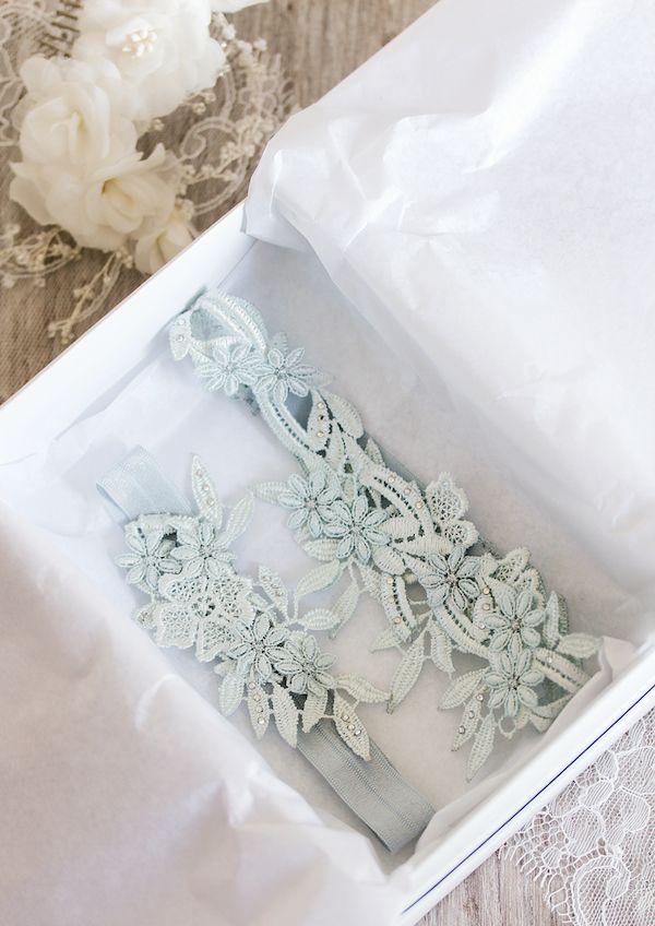 Beneath the Layers | 'Something blue' lace wedding garter set