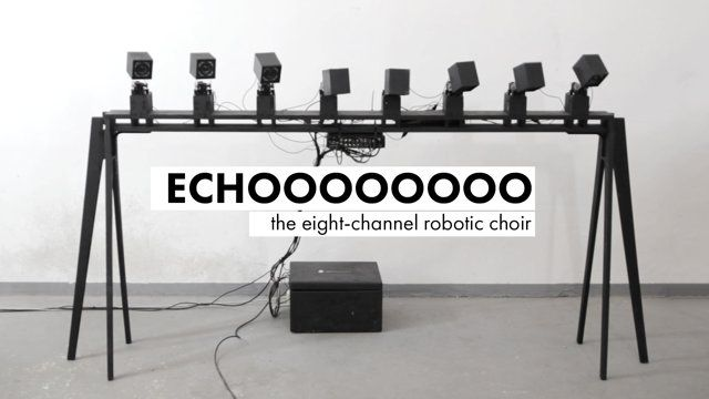 ECHOOOOOOOO the eight-channel robotic choir  performer's voice is processed in eight independent channels and feeded to the speakers, movement of each speaker  is directly connected with frequency and amplitude of the generated sound  THE PROJECT ORIGINALLY CREATED FOR ART+BITS FESTIVAL AND PRESENTED  AT RONDO SZTUKI GALLERY (3–5.10.2014)  http://artbits.pl http://www.rondosztuki.pl http://pangenerator.com
