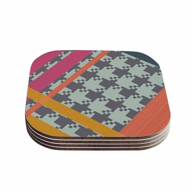 """Pellerina Design """"Houndstooth Color Block"""" Multicolor Contemporary Coasters (Set of 4)"""