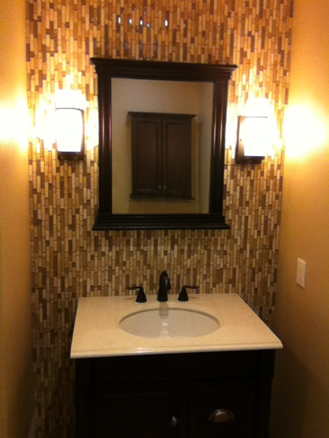 vertical tile backsplash in bathroom