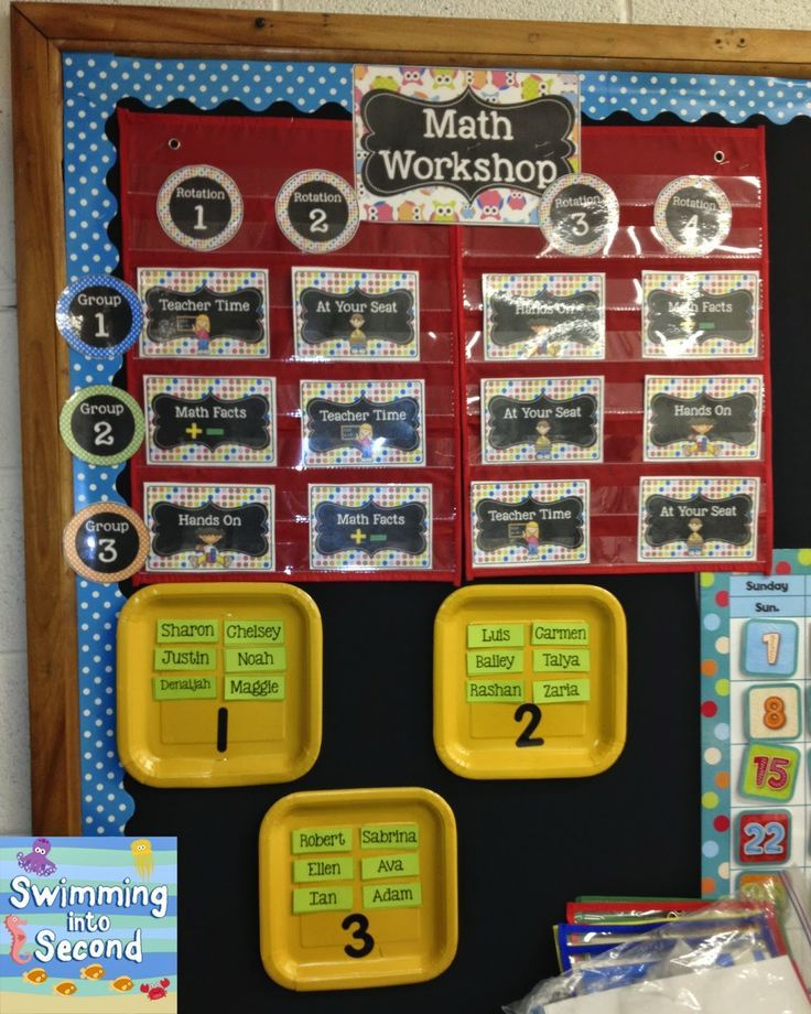 Swimming Into Second: C is for Centers (ABCs of 2nd grade) math centers rotation board.