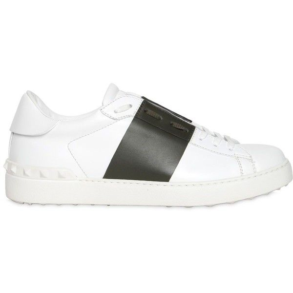 Valentino Men Open Color Block Leather Sneakers ($625) ❤ liked on Polyvore featuring men's fashion, men's shoes, men's sneakers, mens leather shoes, mens shoes, mens sneakers, mens leather sneakers and valentino mens shoes