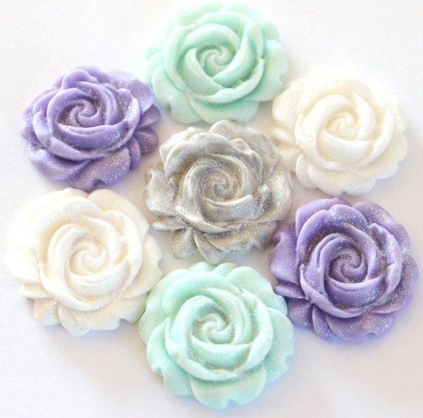 24 Fondant blue, silver, white and purple rose cupcake toppers-vintage, frozen party, winter weddings, cupcake toppers, fondant roses by TheVintageVanilla on Etsy
