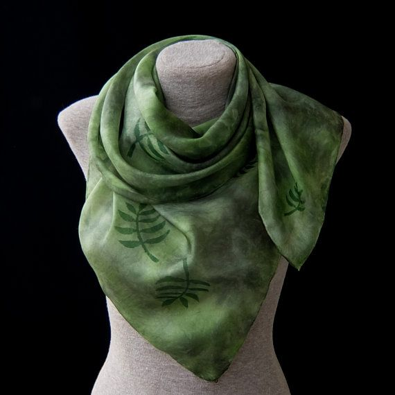 Silk scarf shawl  Elven queen  moss green fern leaves by Monteboo