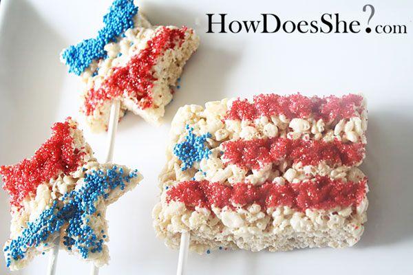 4th of July, Rice Krispie, Stars on a Stick
